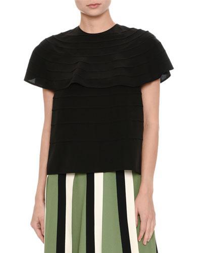 Valentino Short-Sleeve Pleated Silk Top, Black