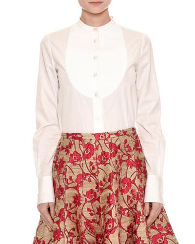 Valentino Band-Collar Poplin Bib Blouse, White