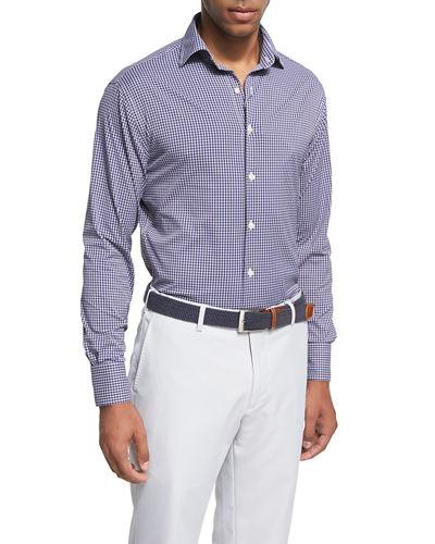 Peter Millar Statler Regular Fit Check Performance Sport Shirt In Yankee Blue