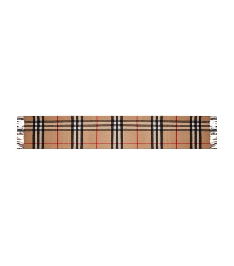 Burberry Reversible Check Cashmere Scarf In Brown