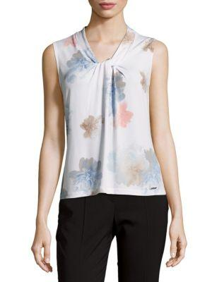 Calvin Klein Twisted Front Top In White Multi