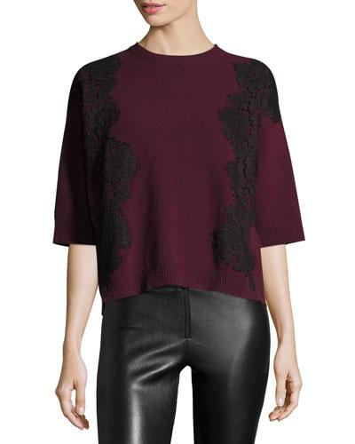 Valentino 3/4-Sleeve Boxy Lace-Trim Sweater, Red/Black In Purple