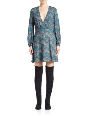 Alice And Olivia Cary Printed A-Line Dress In Ornate
