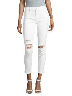 7 For All Mankind Distressed Ankle Jeans In White