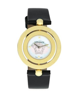 Versace Textured Leather Strap Watch In Yellow Gold