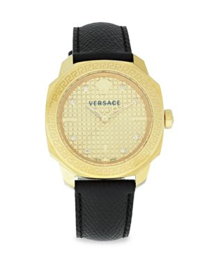 Versace Greek Key Leather Strap Watch In Yellow Gold