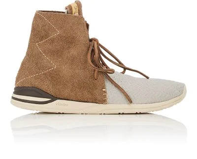 "Visvim ""Huron Mesh Moc Hi-Folk"" Sneakers In Gray"