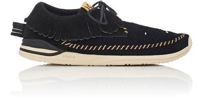 Visvim Mesh & Suede Moccasin Sneakers In Black