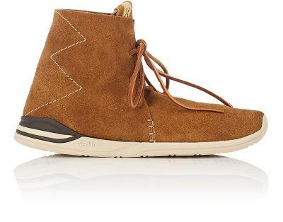 "Visvim ""Huron Moc Hi-Folk"" Suede Sneakers In Brown"