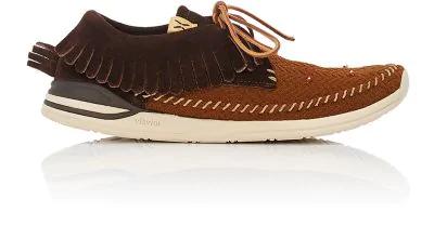 Visvim Mesh & Suede Moccasin Sneakers In Brown