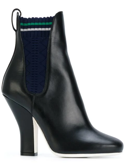 Fendi Round Toe Leather Chelsea Boots In Black