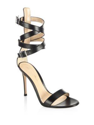Gianvito Rossi Strappy Leather Sandals In Black