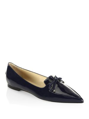 Jimmy Choo Genna Patent Leather Point Toe Flats In Navy