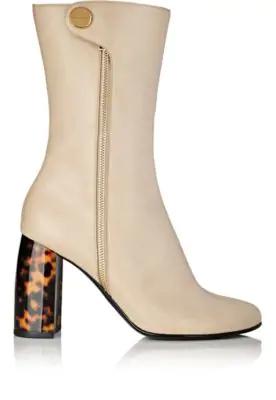 Stella Mccartney Tortoiseshell-Heel Faux-Leather Boots In Cream