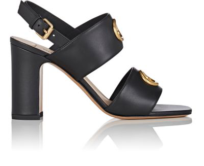 Valentino Leather Double-Band Sandals In Black