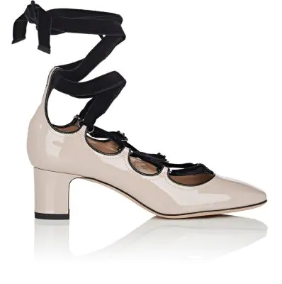 Valentino Patent Leather & Velvet Lace-Up Pumps In Poudre