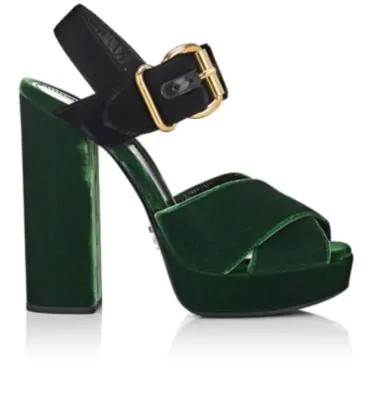 59a67bda12d Prada Colorblocked Velvet Platform Sandals In Green