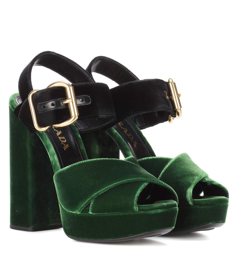 Prada Colorblocked Velvet Platform Sandals In Green