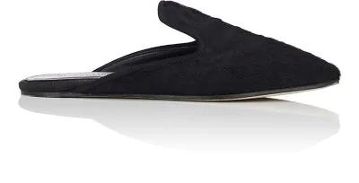 Helmut Lang Calf Hair Square-Toe Mules In Blk