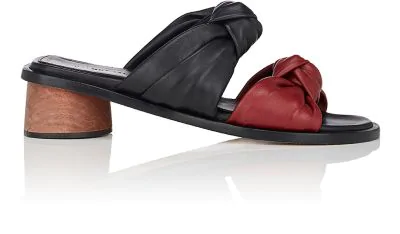 Helmut Lang Knotted-Strap Leather Slide Sandals In Ruby Mlt