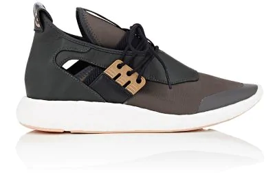 Y-3 Elle Run Neoprene & Leather Sneakers In Dark Green