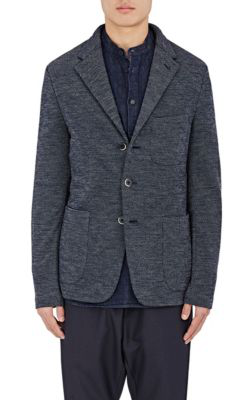 Barena Venezia Pin-Dot Worsted Wool Three-Button Sportcoat In Navy