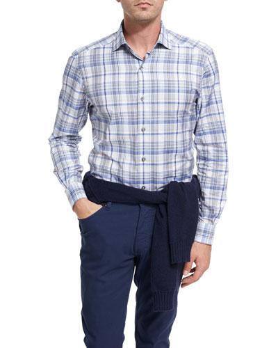 Ermenegildo Zegna Oversize-Plaid Cotton Shirt, Blue In Blue Pattern