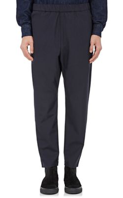 Barena Venezia Wool-Cotton Drawstring-Waist Trousers In Navy