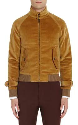 Prada Leather-Trimmed Cotton-Corduroy Jacket In Tan