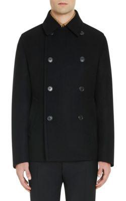 Prada Double-Breasted Padded Virgin Wool Peacoat In Black
