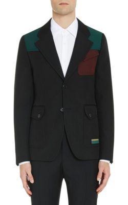 Prada Patchwork Twill Hunting Jacket In Black