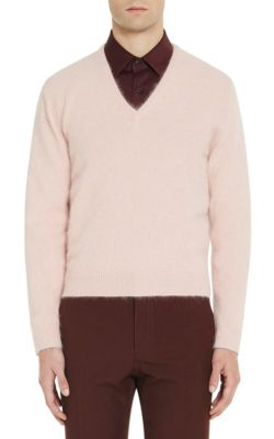 Prada Angora-Blend V-Neck Sweater In Pink