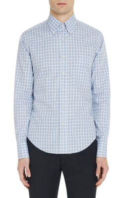 Prada Button-Down Collar Checked Cotton Shirt In Light Blue,Tan,White