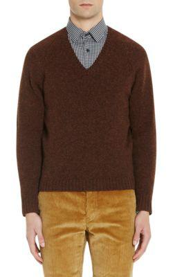 Prada Shetland Wool V-Neck Sweater In Lt.Brown