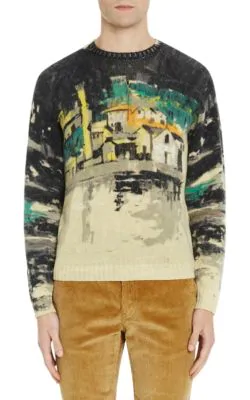 Prada Village-Print Wool Sweater In Grey