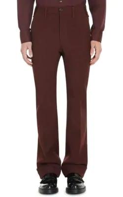 Prada Twill Flared Trousers In Red