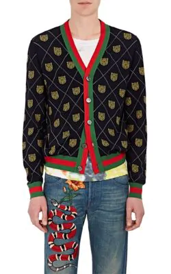 Gucci Tiger Face Wool V-Neck Cardigan In Blue