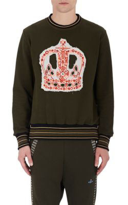 Vivienne Westwood Crown-Embroidered Cotton Terry Sweatshirt In Olive