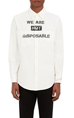 """Vivienne Westwood """"We Are Not Disposable"""" Denim Workshirt In White"""