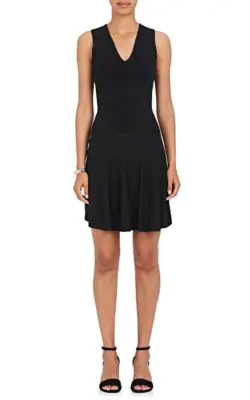 Opening Ceremony Compact Knit Flare Dress In Black