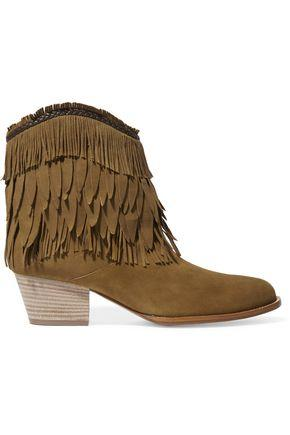 Aquazzura Woman Pocahontas Fringed Suede Ankle Boots Tan