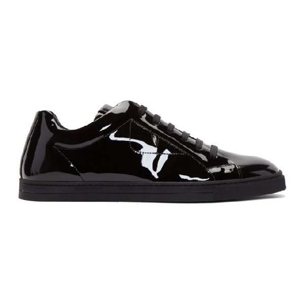 Fendi Monster Patent Leather Sneakers In Black