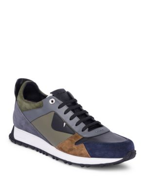 Fendi Monster Leather & Suede Running Sneaker In F07Ou Navy/Grey
