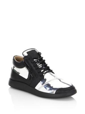 Giuseppe Zanotti Metallic Runner Leather Sneakers In Black