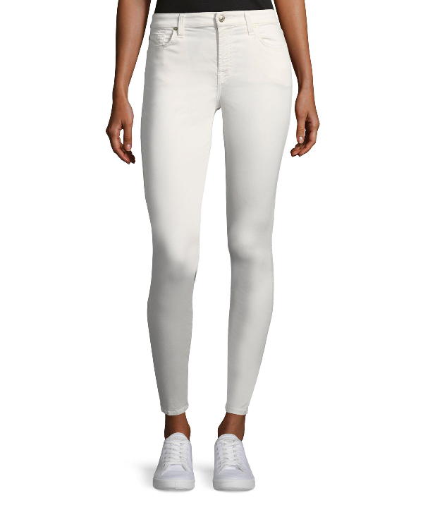 7 For All Mankind B(Air) Mid-Rise Ankle Skinny Jeans With Faux Front Pockets In White
