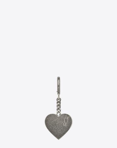 Saint Laurent Signature Heart Key Ring In Brushed Silver-Toned Metal In Palladium