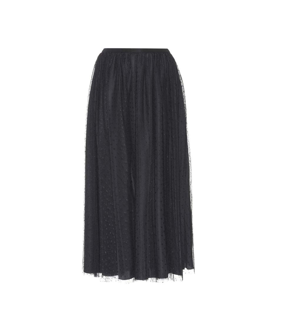 Red Valentino Mid-Rise Pleated Taffeta Midi Skirt In Black