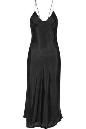 Haider Ackermann Woman Lace-Paneled Silk-Satin Midi Dress Black