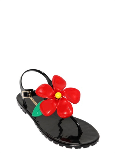Dsquared2 Flower Rubber Sandals In Black