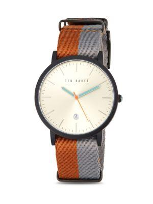Ted Baker Round Stainless Steel Watch In Multi